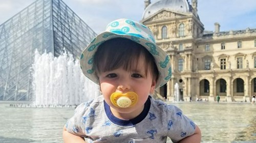 My toddler at the Louvre (he loved the fountains)!