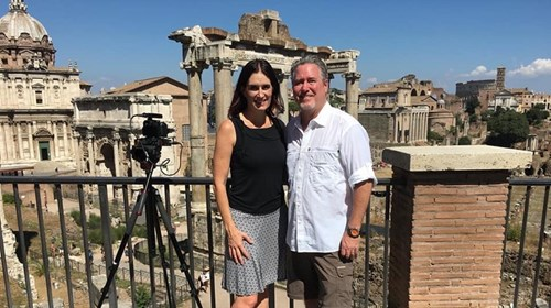 Filming at The Forum in Rome, Italy