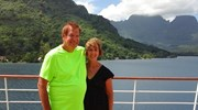 On the deck of the Paul Gauguin in Tahiti