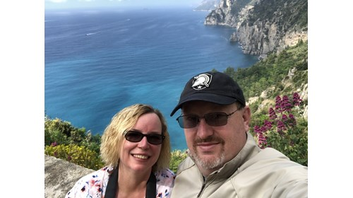 My husband, Jack and I at the Amalfi Coast