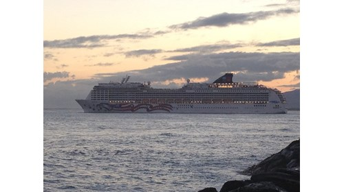NCL Pride of America sailing out of Honolulu, Oahu