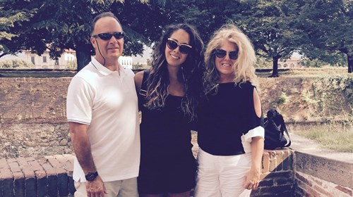 Lisa in Italy with Ken and Lexy.