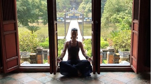 Our client doing yoga in Angkor Wat, Cambodia