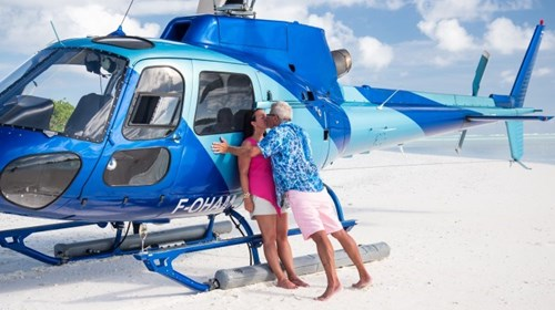 She said YES! Private helicopter ride to Tupai.