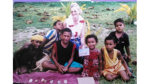 Enjoying time with Fijian children