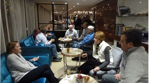 One of our groups enjoying the lounge of the ship