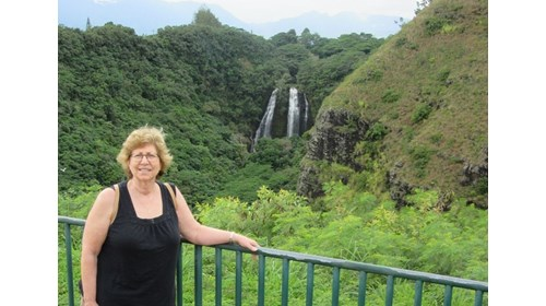 Mindy at Wailua Falls in Kauai- Dec 2019