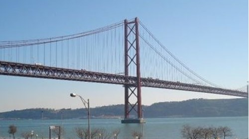 Overlooking the river running through Lisbon.