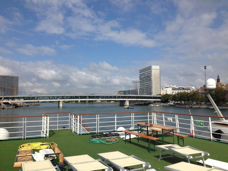 Sun Deck ofRiver Cruise Ship in Basel, Switzerland