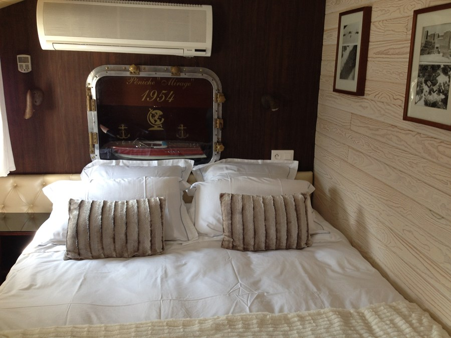 Comfortable accommodations on a French hotel barge