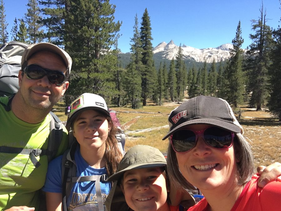 Family backpacking trip in Yosemite National Park