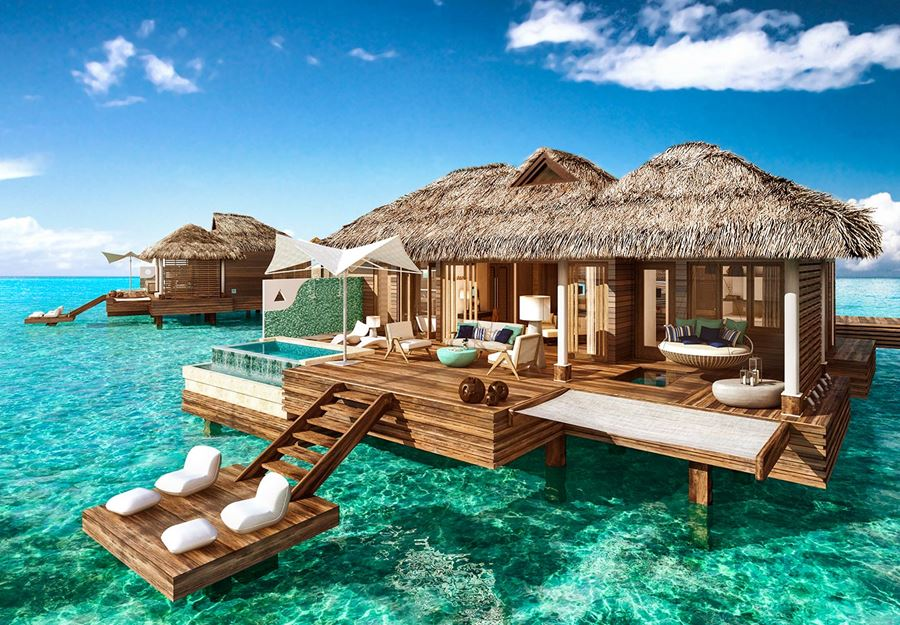 Sandals over the water bungalows