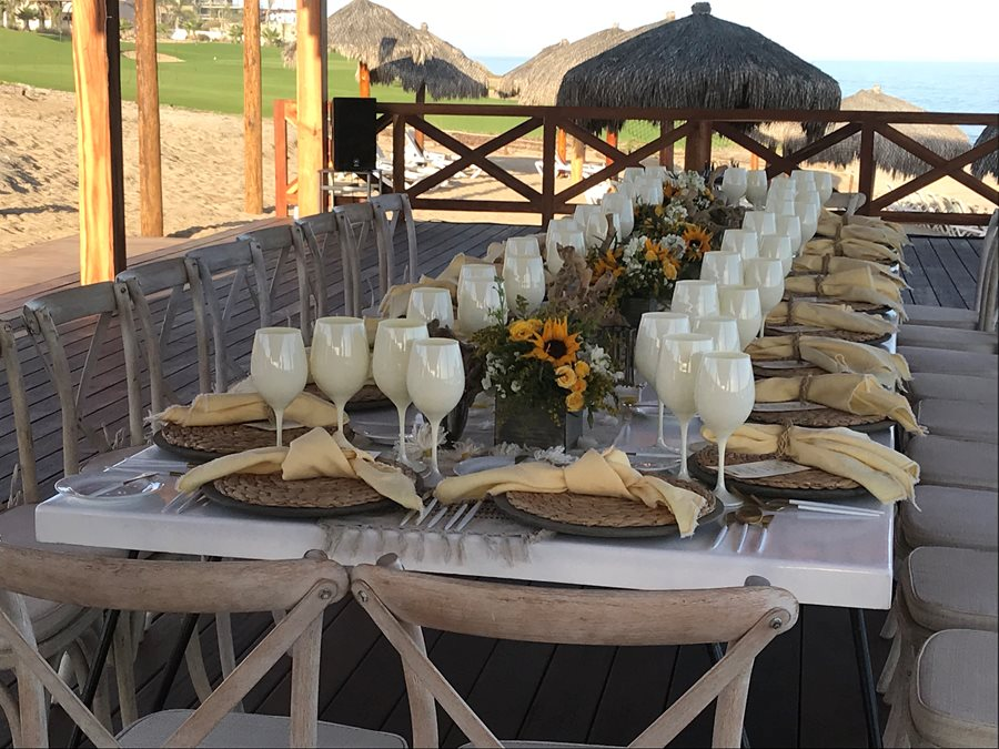 WEDDING TABLE SET UP AT SECRETS LOS CABOS