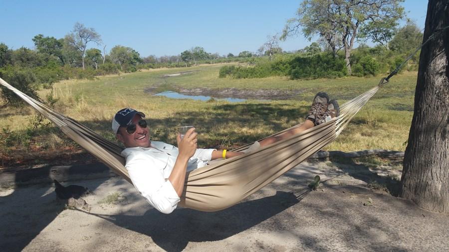 Relaxing at the Selinda Explore's Camp
