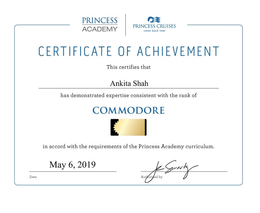 Princess Commodore Certificate