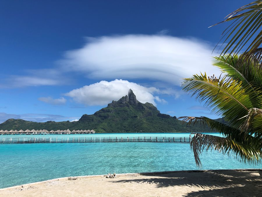 Cloud formation over Mount Otemanu in Bora Bora