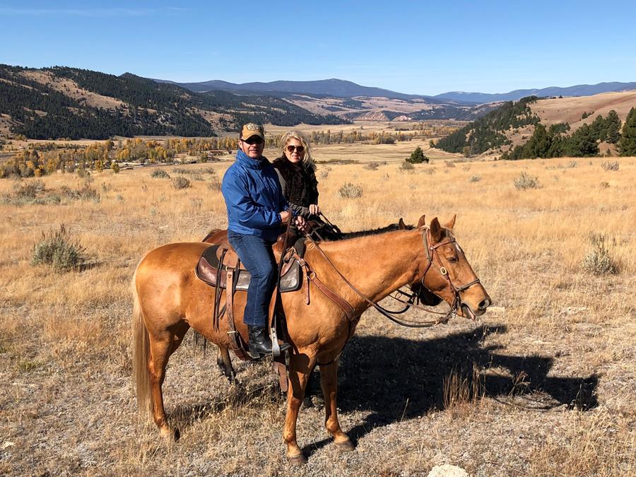 My husband Ken and I Horseback Riding
