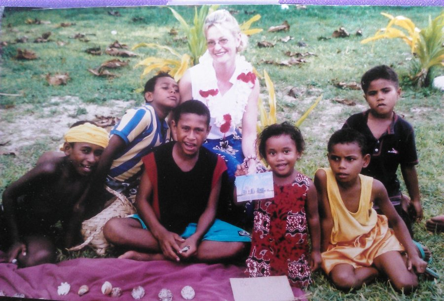 Shel, with some Fijian children