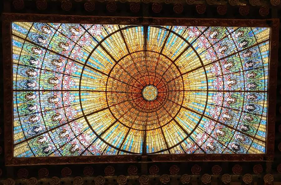Skylight in the Palace of Music in Barcelona
