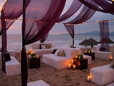Beach Lounge with Sheers, String Lights and Candle