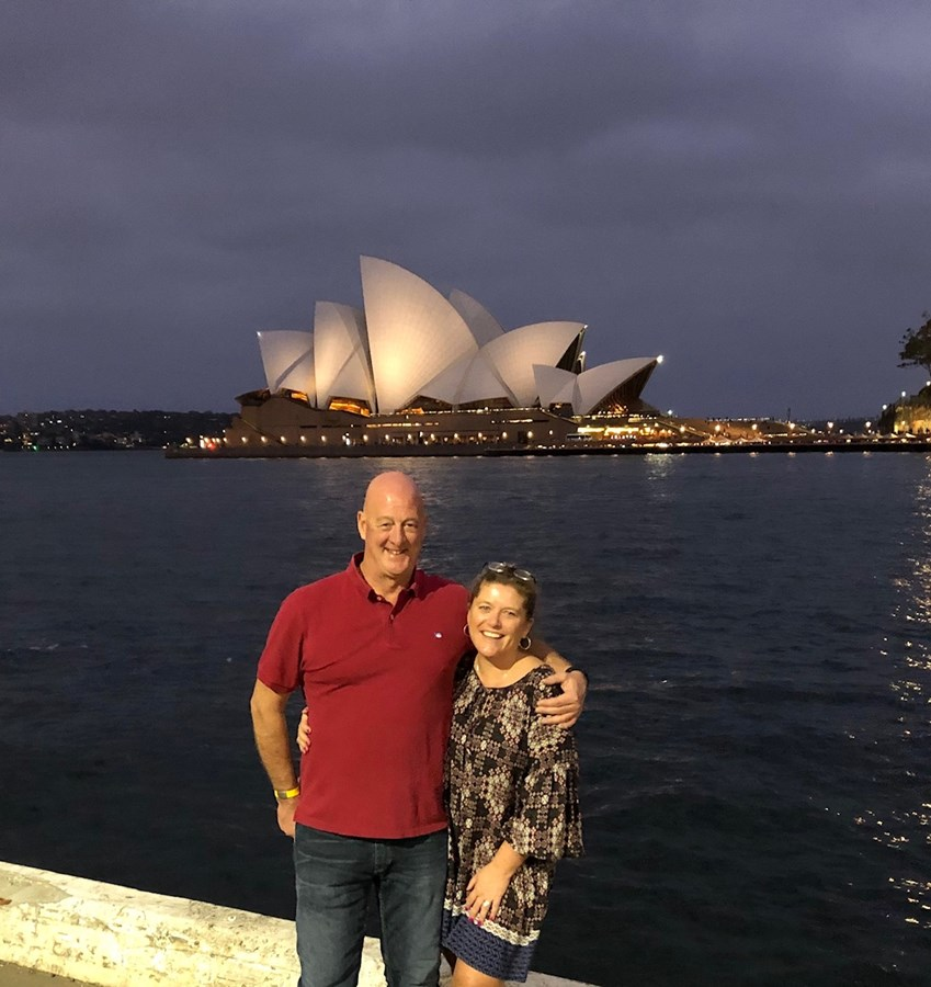 Just arrived, in front of the Opera House.