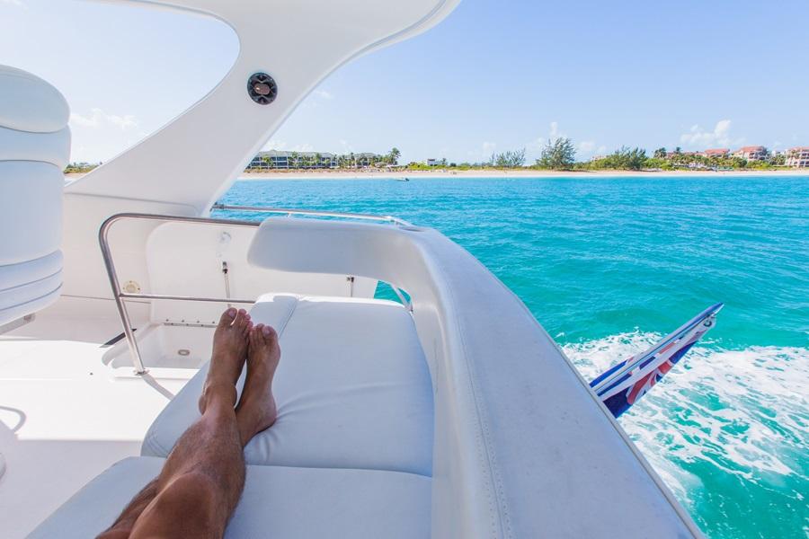Relaxing on a luxury motor yacht