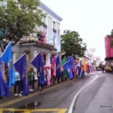 The 50 state flags lined the main street