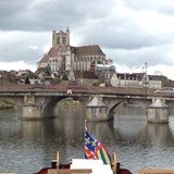 Arriving in Auxerre on a hotel barge