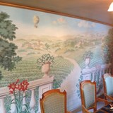 Beautiful silk wallpaper on a luxury hotel barge