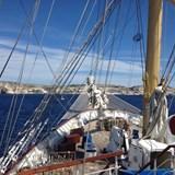 Approching the cliffs of Bonifacio, Corsica