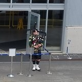 A warm greeting of bagpipes in Halifax
