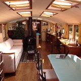The saloon on a luxury French hotel barge.