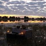 Sundowners in the Okavango Delta.