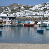 One of the harbors in Mykonos