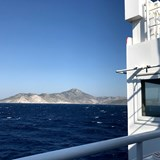 Sailing past the Turkish coast on the ferry.