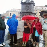 Waiting for the pope in the rain