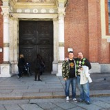 in front of the building with the Last Supper