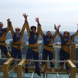 Jumping for joy at Sydney Tower