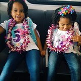 The girls were excited about their leis!