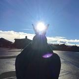 Haleakala Sunrise Tour - Hubby holding the sun!