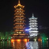 Twin Pagodas on 4 Lakes in Guilin