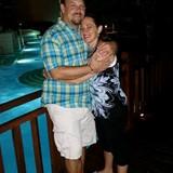 My husband and I near the pool