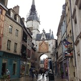 the narrow streets of Auxerre, France
