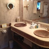A luxurious private bathroom on a canal barge