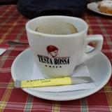 Enjoying a coffee on tour