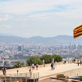 The Catalonian flag overlooking Barcelona
