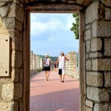 Peeking out of a monastery in Croatia