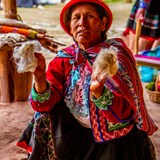 Learning about alpaca wool in the Sacred Valley