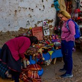 Admiring the handiworks of the Peruvian women