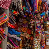 Colorful displays in the markets of Cuzco